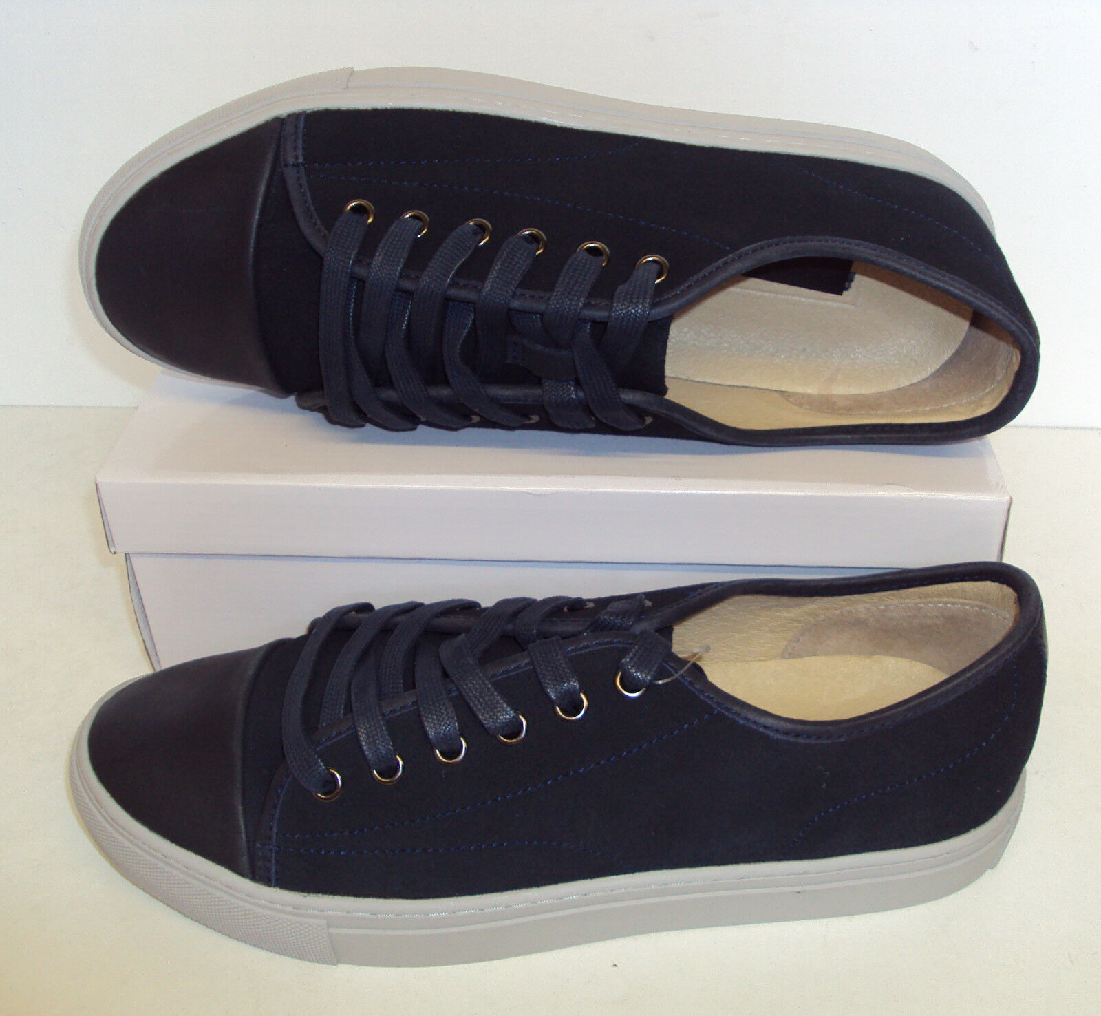 RRP .50 ex M&S Mens New Casual Navy Real Suede Leather Casual New Trainers Shoes Size 7 727328