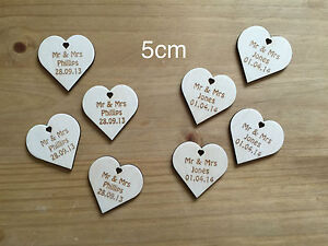 Wedding-Gift-MINI-FAVOURS-HEARTS-Table-Decoration-Personalised-Wooden ...