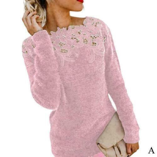 Frauen Winter warme flauschige Pullover Tops Lace Jumper N Bluse M Q9C1 Pul L1K9