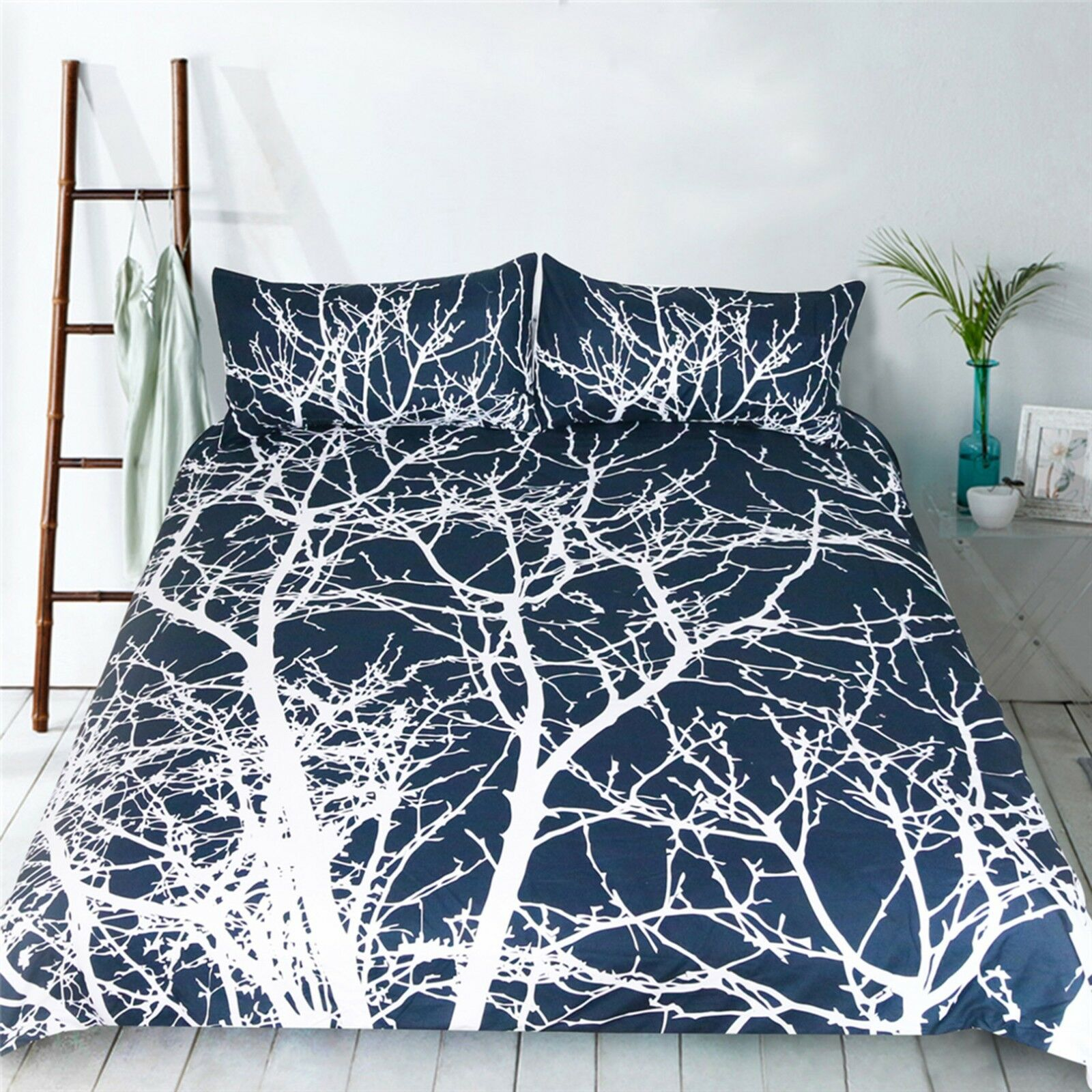 3D blanc Tree 4 Bed PilFaiblecases Quilt Duvet Cover Set Single Queen King AU voiturely