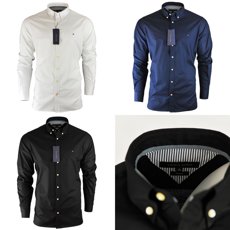 Men 39 s tommy hilfiger plain shirt long sleeve slim fit size for Tommy hilfiger shirt size