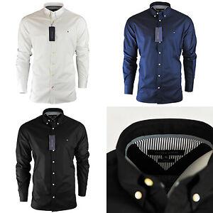 Men s Tommy Hilfiger Plain Shirt Long Sleeve Slim Fit Size S M L XL ... 547fc7104f01