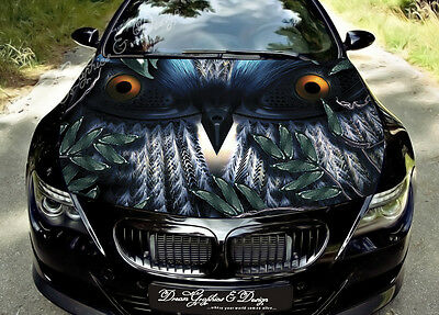 Owl Full Color Graphics Adhesive Vinyl Sticker Fit any Car Hood Bonnet #131