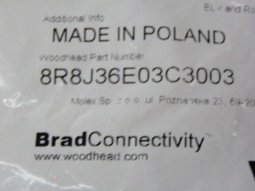 Brad Harrison 8R8J36E03C3003 Micro-Pin Male Receptacle 8-Pin 0.3M   NEW