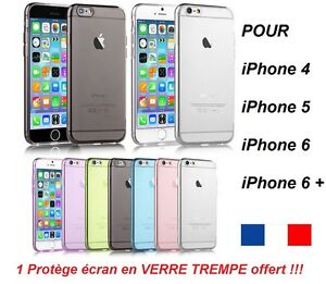 Lot-VERRE-TREMPE-Coque-etui-housse-en-silicone-gel-iPhone-4-5-5C-6-6-PLUS