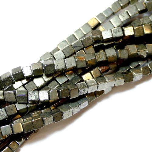 Pyrit Würfel 4 mm 1 Strang BACATUS Edelsteine Perlen #4306