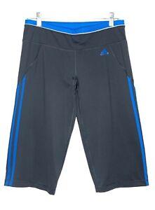 Adidas-Climalite-Women-039-s-Cropped-Capri-Athletic-Pants-Gray-Blue-Stripe-Sz-M