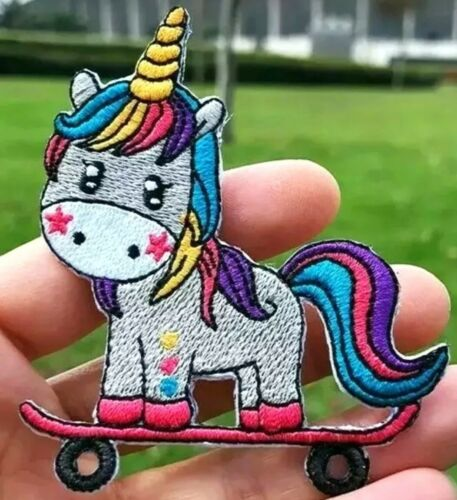 """Skateboard Unicorn Patch Embroidered Iron On Applique 3.11/"""" X 2.60/"""" Bold Colors"""