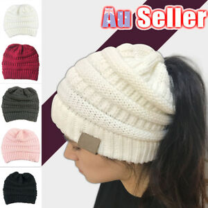 b01d18a04 Women Tail Messy Soft Beanie Bun Hat Ponytail Stretchy Knitted ...