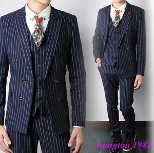 Mens-Slim-Striped-Dress-Formal-Business-Double-Breasted-Coat-Jacket-Pants-Suits