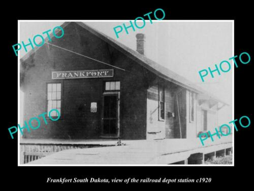OLD 6 X 4 HISTORIC PHOTO OF FRANKFORT SOUTH DAKOTA, RAILROAD DEPOT STATION c1920