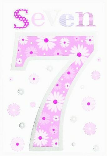 WONDERFUL COLOURFUL PINK SEVEN 7 7TH BIRTHDAY GREETING CARD