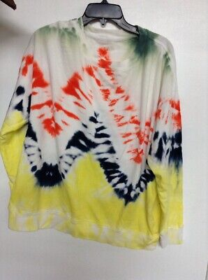 NEW WILDFOX couture women/'s tie dye sweatshirt nwot yellow white green size s