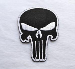 Skull-The-Punisher-Patch-Aufnaeher-Aufbuegler-Badge-Iron-On-Badge-Black