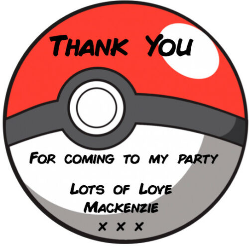 P4 24 Personalised Pokemon Pokeball Birthday Party Favour Stickers Thank You