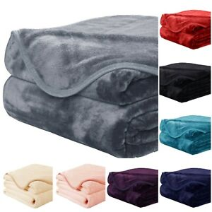 NEW LUXURY SOFT MINK FAUX FUR THROW SOFA BED BLANKET SINGLE DOUBLE KING