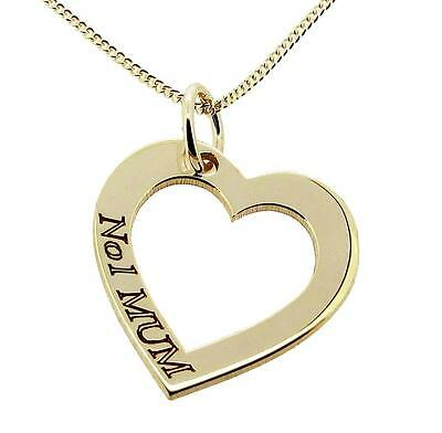 9CT GOLD PLATED ON SILVER JEWELLERY HEART NUMBER 1 MUM PENDANT CHAIN OPTION GIFT