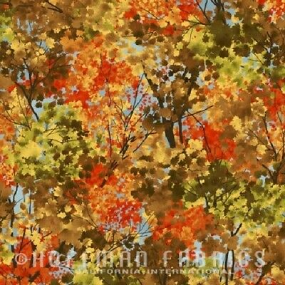 FROSTED FALL AUTUMN LEAVES TREES SKY LANDSCAPE FABRIC