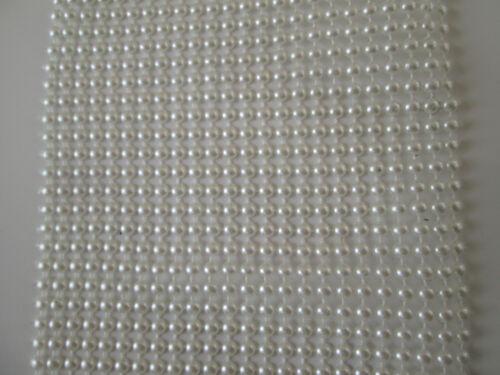 0,5 elegante Perlen Strass Band Borte Nichtelastisch Elfenbeinweiß 11,8cm PT 044