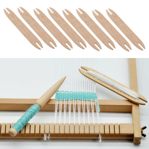 8X Knitting Shuttle Sticks Wood Rod For Winding Tapestry Sweater Hand Tools