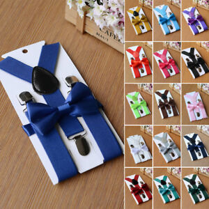 Matching-Braces-Suspenders-And-Bow-Tie-Set-Kids-Baby-Boys-Wedding-Formal-Y-Back