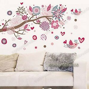 LARGE-Pink-Blossom-Flower-Tree-amp-Birds-Wall-Stickers-Art-Decal-Paper-Home-Decor