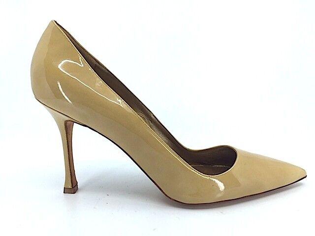 MANOLO BLAHNIK Tan Taupe patent leather high heel pumps shoes Sz 40.5