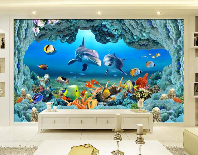 3D Korallenriff Delphin 858 Tapete Wandgemälde Tapete Tapeten Bild Familie DE