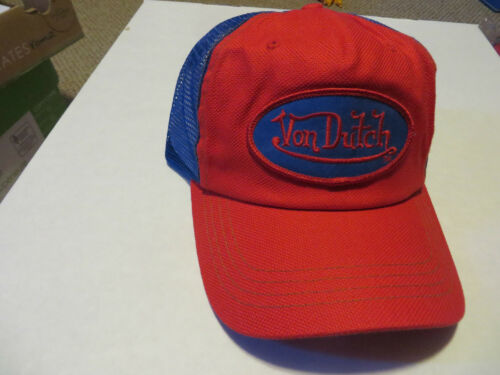 BRAND NEW AUTHENTIC VON DUTCH TRUCKER HAT RED AND BLUE
