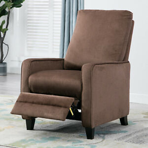 Manual-Recliner-Sofa-Chair-Linen-Track-Arm-Push-Back-Living-Room-Chocolate