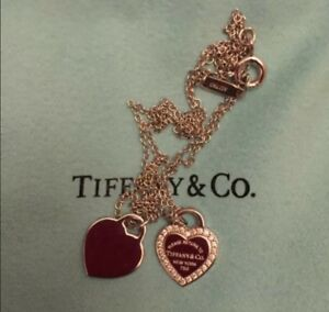 a157afd17 Return to Tiffany & Co. 18K White Gold Double Heart Diamond Necklace ...