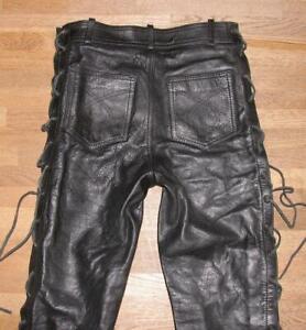 """ MODEKA "" Schnür- LEDERJEANS / Biker- Lederhose in schwarz M ca. W28""/ L30"""
