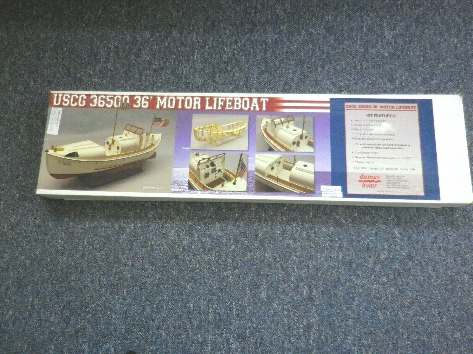 DUMAS MODEL BOAT KIT USCG 36500 36' MOTOR LIFEBOAT    1258