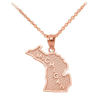 14K Yellow Gold 14k White Gold 14k Rose Gold 10k Gold Sterling Silver Michigan MI State Map Necklace Personalized Heart Pierced City