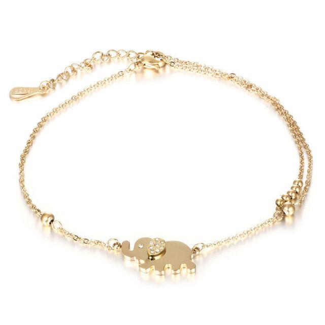 Fashion Women Charm Rhinestone Gold Elephant Chain Bracelet Jewelry Gift New