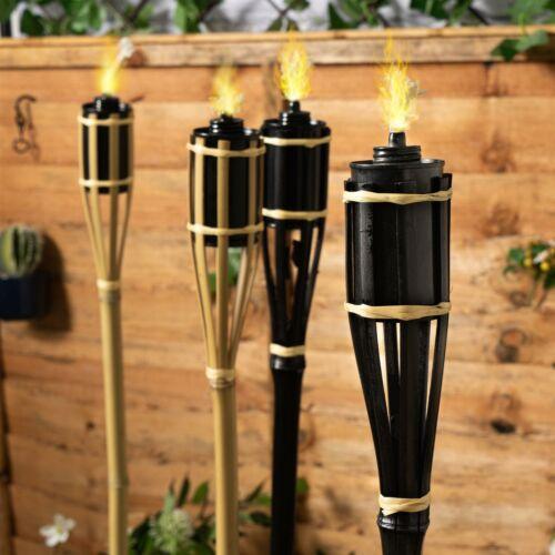 6x Bambù Giardino Torcia Set OLIO DI PARAFFINA Fuoco TORCE naturale 114cm