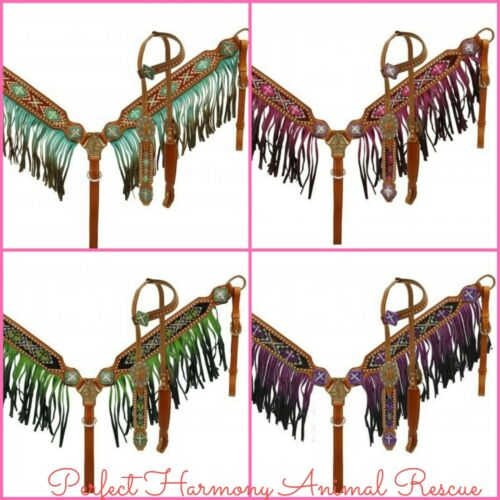 Beaded Inlay Cross Headstall /& Ombre Fringe Breast Collar Set 4 Colors NEW