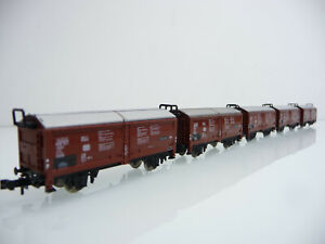 Minitrix-N-1-160-13955-5-teiliger-Hubschiebedachwagen-Zug-Tis-858-braun-silber