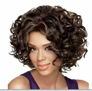 Usjf1501 New Style Short Wavy Dark Brown Mix Hair Wigs For