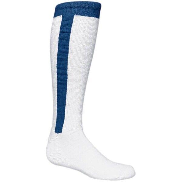 Adult Baseball Stirrup Socks White and Royal