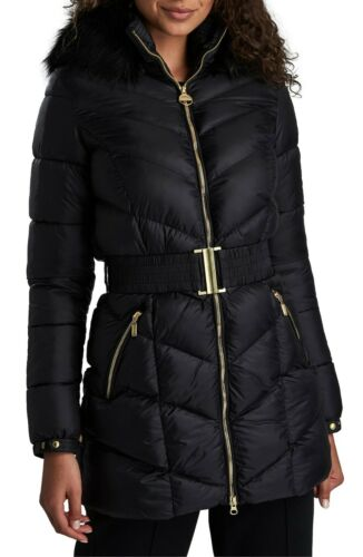 Barbour Black Highpoint Faux Fur Quilted Hooded Pu