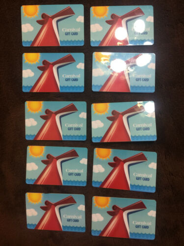 """Carnival Cruise Line Gift Card /""""ZERO VALUE/""""  Preowned Lot of 5 Cards"""