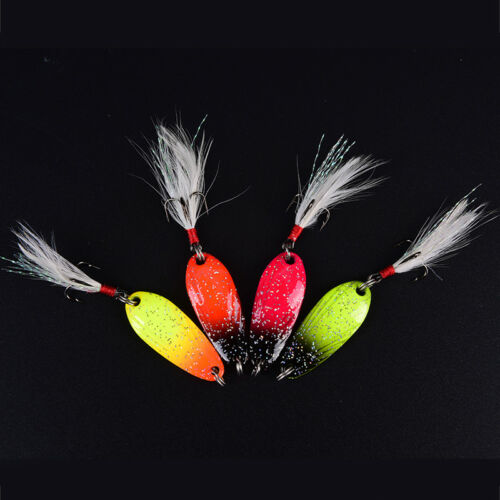 metal spinner spoon fishing lure hard baits sequin noisepaillette with feathe Sa