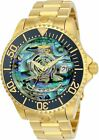 Invicta 47mm Grand Diver Automatic Abalone Dial 18k Gold Plated Bracelet Watch