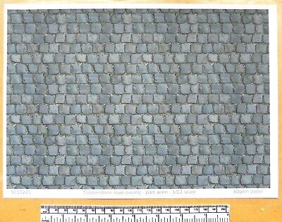 """A4 sheet part worn/"""" paper Dolls house 1//12th scale /""""Cobblestone road paving"""