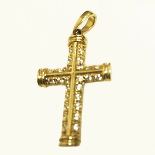 NEW 9ct 9kt gold Cross pendant with 26 sparkling stones Made in Europe. STUNNING