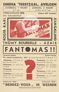 FANTOMAS Paul FEJOS Mystère BRAUNBERGER Typographie Masque CERUTTI Flyer 1932