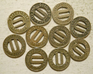 Lot-of-10-United-Railways-Company-of-St-Louis-Missouri-transit-tokens-MO910D