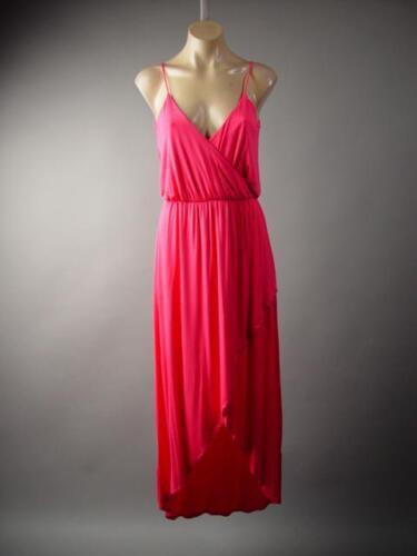 Bright Coral Pink Strappy Wrap Long Asymmetric Goddess Party 225 mv Dress S M L