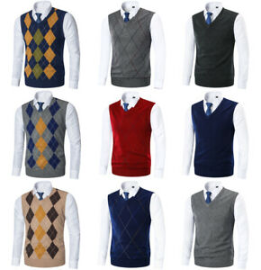 Mens-Argyle-Sweater-Vest-Golf-Knitted-Tank-Top-V-Neck-Sleeveless-Pullover